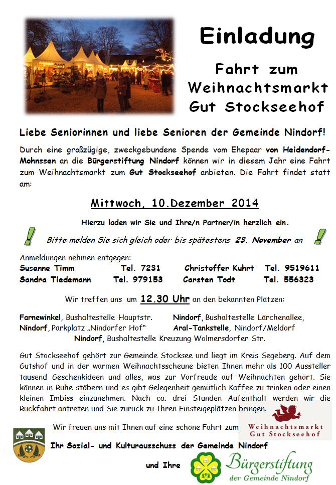herzlich willkommen bei der bürgerstiftung der gemeinde nindorf, Einladungen